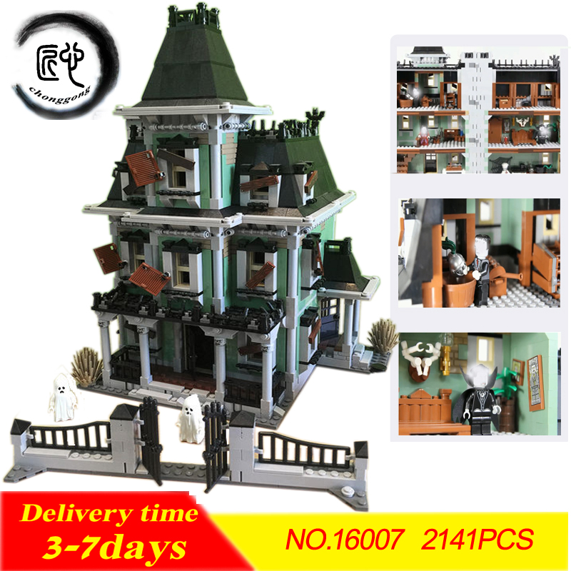 New 2141Pcs Monster fighter The haunted house Model set Building Kits Model Blocks Bricks Compatible With legoed 10228 hf movie figures 2141pcs monster fighter haunted house model building kits blocks bricks toys for children compatible with 10228