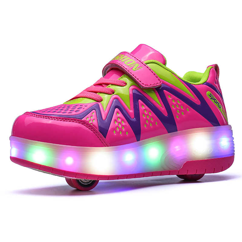 LED Light Sneakers with TWO Wheel Heelys Boy Girl Roller Skate Casual Shoe with Roller Girl Zapatillas Zapatos Con Ruedas PINK