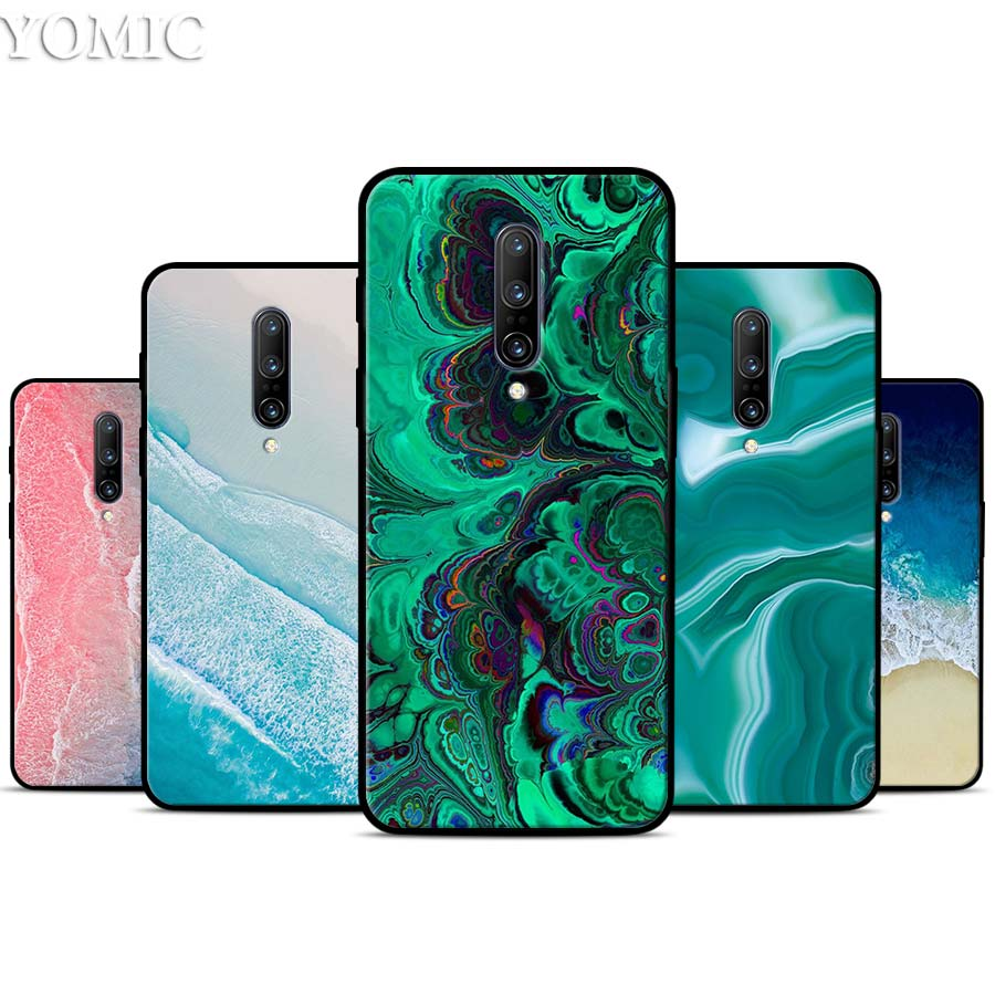 Turquoise Stone marble Silicone Case for font b Oneplus b font font b 7 b font