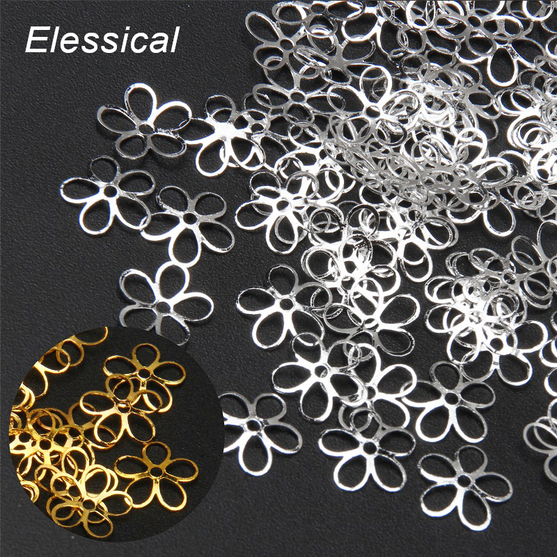 ELESSICAL 100PCS/LOT Hollow Out Flowers Slice Nail Stickers s