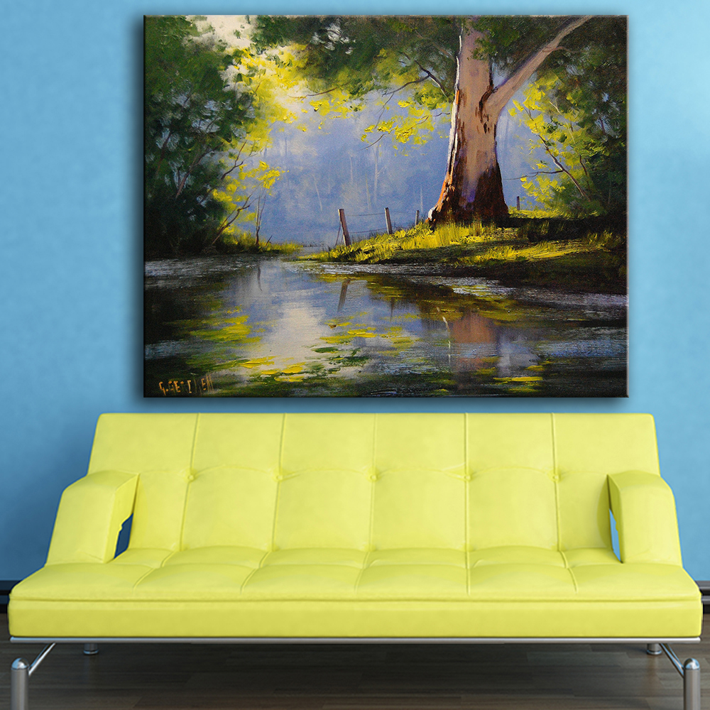 Large size Print Oil Painting Wall painting river eucalyptus tree ...