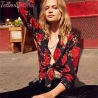 Для женщин Блузки 100% шелк Цветочный принт с длинными рукавами и отложным воротником Офисные женские туфли Повседневная рубашка блузка Топы