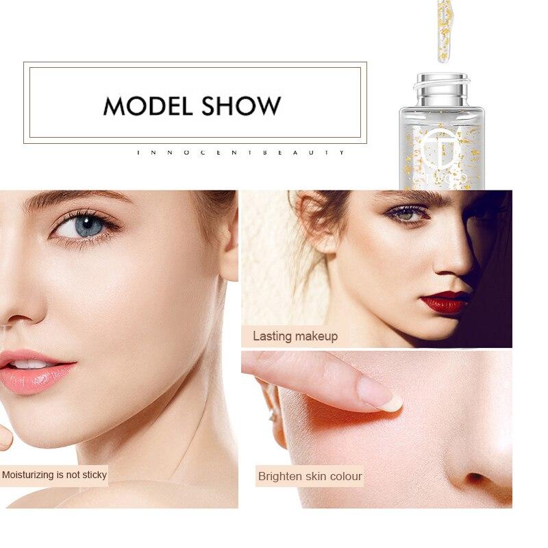 O.TWO.O Gold Foil Particle Primer Makeup Base Transparent Cream Oil Control Professional Make Up Foundation Primer TSLM1