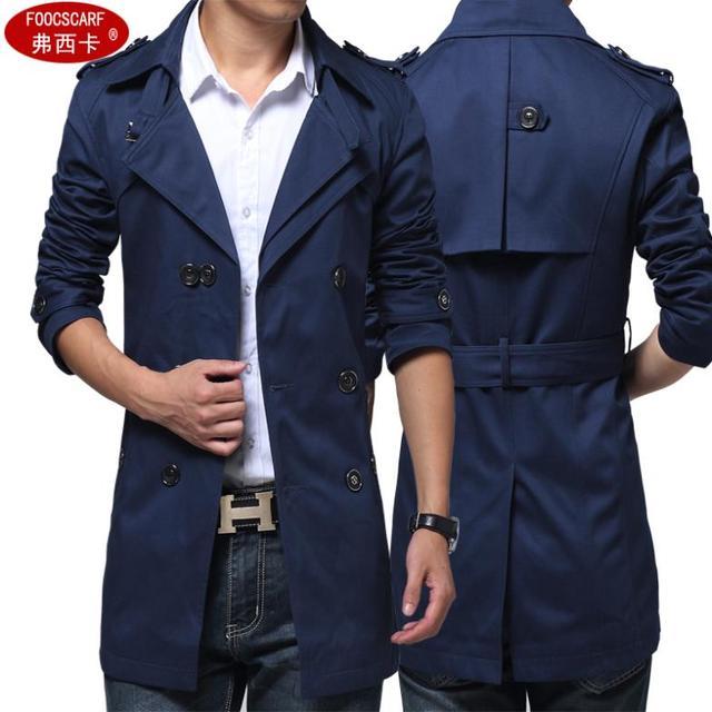 2017 algodón de La Manera hombres gabardina larga slim fit grande tamaño 4XL ropa casual male outwear negro azul marino de color caqui del Envío gratis