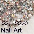SS3-SS50 Crystal AB Del Arte Del Clavo Con Redondo Flatback Para DIY Uñas de Arte Del Teléfono Celular Y Decoración de La Boda