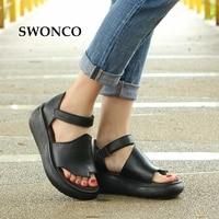SWONCO Women's Sandals 2019 Summer Genuine Leather Sandals Woman Platform Sandal White/Black Gladiator Sandal Women Summer Shoes