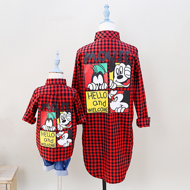 Spring Autumn check minnie mickey mous cartoon miki mummy girls boys blouse family matching outfits children kids 3 to 9 yrs
