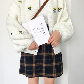 Women's Casual Skirts Japanese Kawaii Ulzzang Vintage Plaid High Waist A-line Skirt Female Korean Harajuku Clothing For Women 2