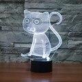 1 Piece 3D Holograma Ilusão Grandes Olhos de Gato Acrílico Lâmpada de Mesa LEVOU USB Nightlight 7 Mudança de Cor