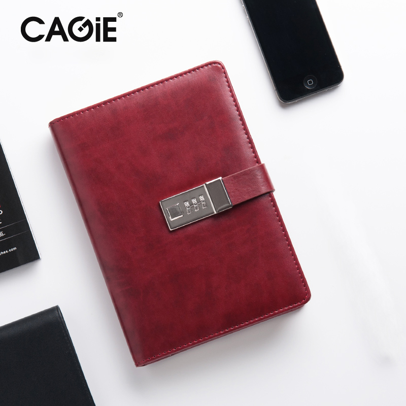 CAGIE Vintage A5 Lock Notebook Faux Leather Office Planner Agenda Organizer Filofax Travel Diary With Lock