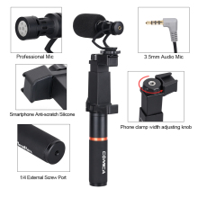 COMICA CVM-VM10-K1 Smartphone Video Rig with Cardioid Directional Shotgun Microphone Shock-Mount Grip Handle for iPho