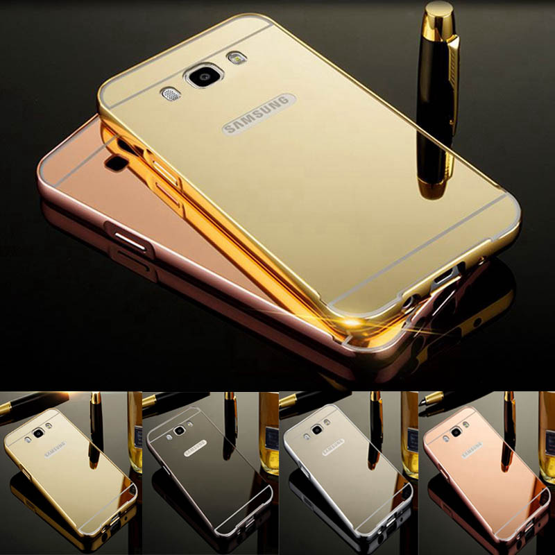 For Samsung J5 2016 Case Plating Mirror Aluminum Metal Bumper & Acrylic PC Back Cover For Samsung Galaxy J5 2016 J510 Case Coque