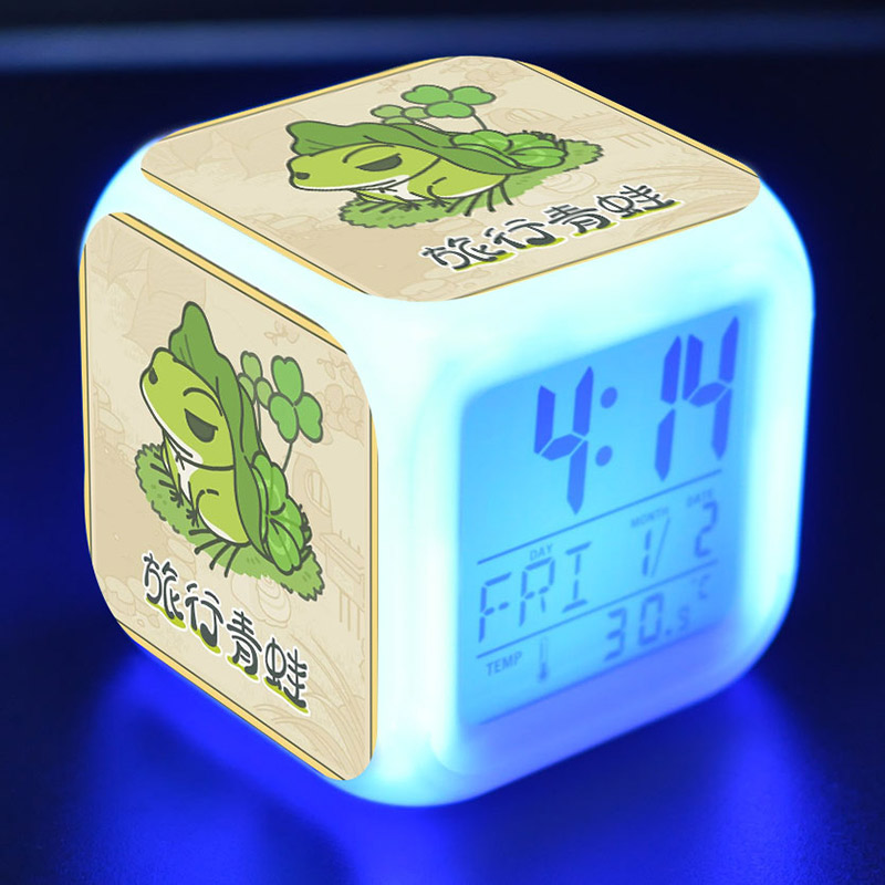 Game Figure Travel Frog Alarm Clock LED Colorful Flash Touch Light Figurine Desk Watch T ...