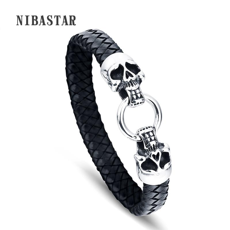 FASHION Men Bracelet Stainless Steel Skull Black Braided Rope Leather Chain Bracelets Punk Rock Style Male Jewelry