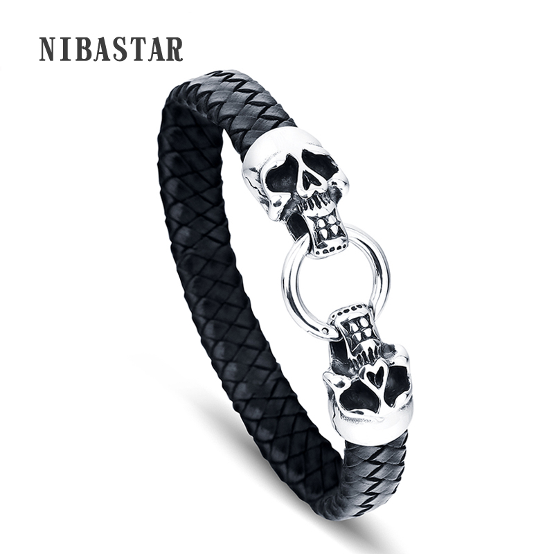 FASHION Men Bracelet Stainless Steel Skull Black Braided Rope Leather Chain Bracelets Punk Rock Style Male Jewelry