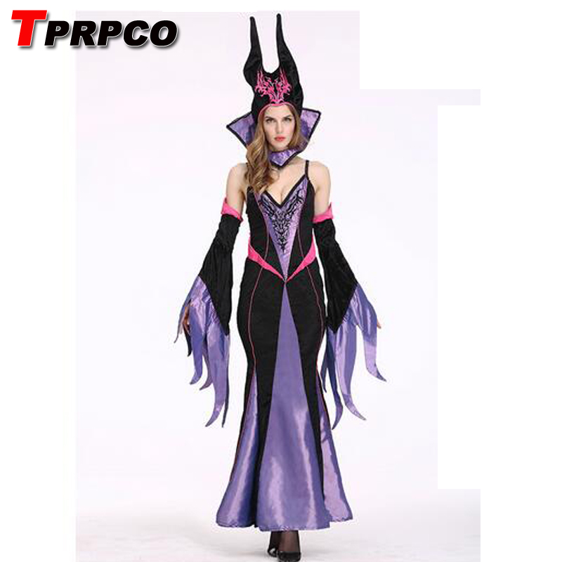 TPRPCO Maleficent horn costume adult for women sexy costumes Maleficent Angelina Jolie cosplay costume Maleficent hat dress N29