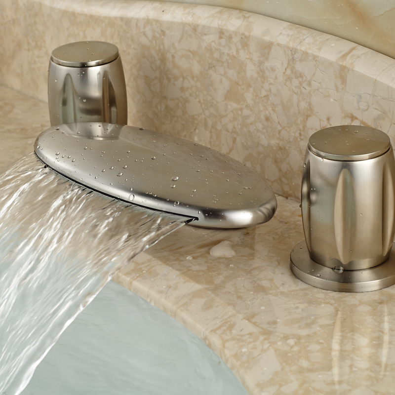 ФОТО Brushed Nickel Dual Handles Curved Spout Waterfall Basin Faucet Deck Mount Double Handles