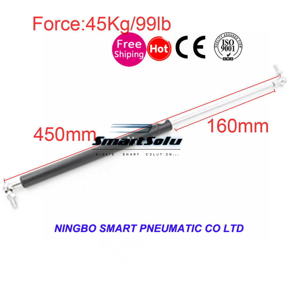 free shipping   45KG/99lb Force 160mm Long Stroke Gas Spring for Funiture Lift M8 Auto Gas Spring for car 450mm Central Distance 60kg 132lb 400mm force 160mm long stroke auto gas spring hood lift support 400 160mm central distance m8 gas springs in springs