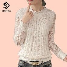 Большие размеры 4XL Кружево шифон Для женщин блузка рубашка корейский сладкий Стиль пуловер с длинными рукавами святить из стенд Топы корректирующие для Для женщин C68277H