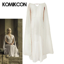 купить Game of Thrones Daenerys Targaryen Costumes Cosplay Costume White Long Dress Adult Female Halloween Fancy Party Performance Gown по цене 6102.37 рублей