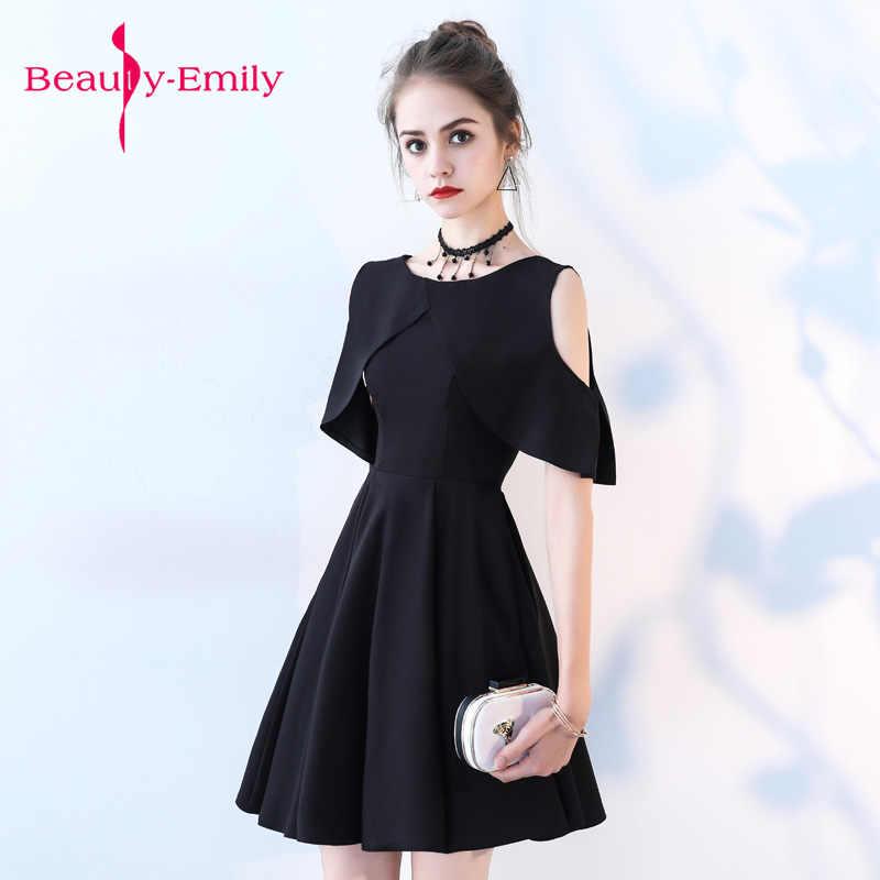 e7eef08941f6f Kısa Gece Elbisesi 2018 Mezuniyet O-boyun Siyah abiye A-line Resmi Elbise  Mezuniyet