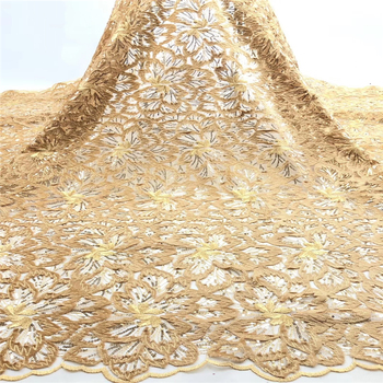 Tollola Gold African Lace Fabric Embroidered Nigerian Laces Fabric Bridal High Quality French Tulle Lace Fabric For Women Dress