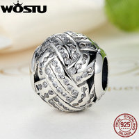 Real 100 925 Sterling Silver Love Knot Charm Beads With Clear CZ Fit Original Pandora Bracelet