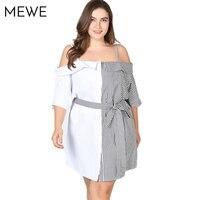 2018 White Dress Summer Strap Tied Belt Off Shoulder Dress Plus Size Striped Patchwork Shirt Dresses Multiway Mini Dresses 6XL