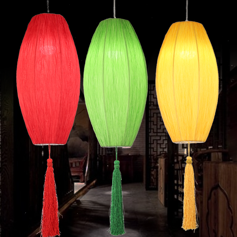 Chinese style cloth pendant light lantern red green yellow Hot pot shop Restaurant hotel living room lighting decorations lamps yoga nasal washing pot light yellow red