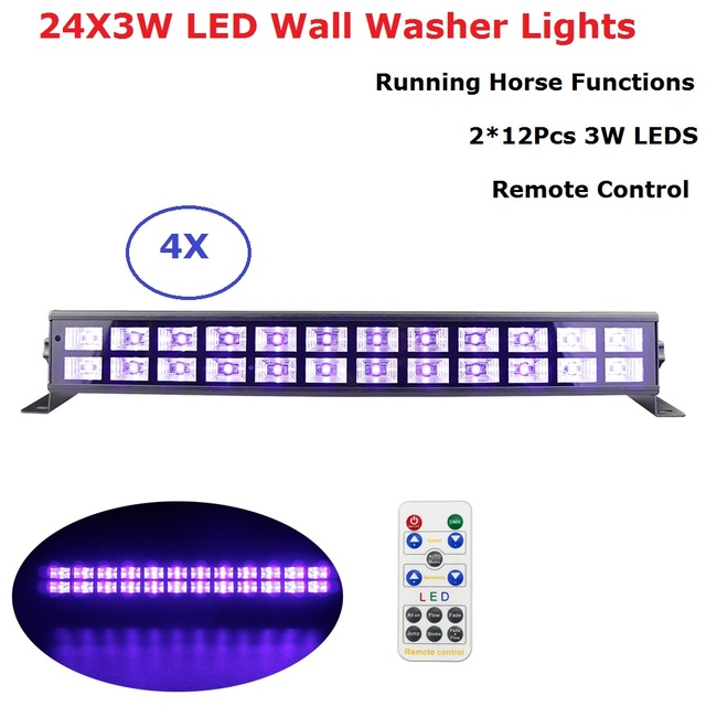 4Pcs New 24 LEDS Wall Washer LED UV Color Stage Effect Lights Bar Black Party Lights Indoor / Outdoor Lighting Shows Equipments