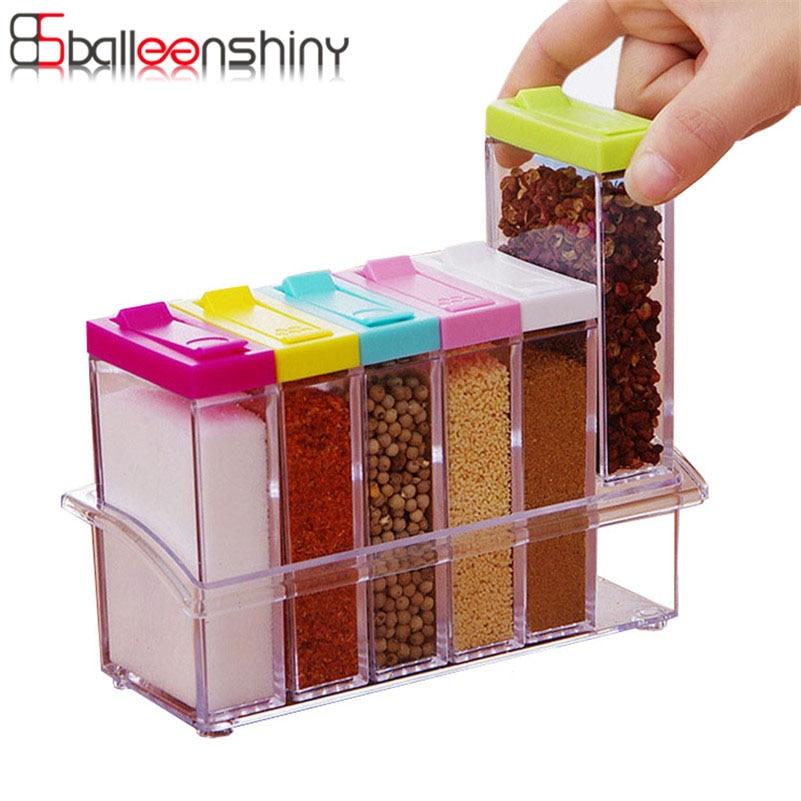 BalleenShiny 6pc/set Plastic BBQ Seasonings Storage Box Cans Colorful Lid Seasoning Kitchen Tools Salt Condiment Cruet Organizer