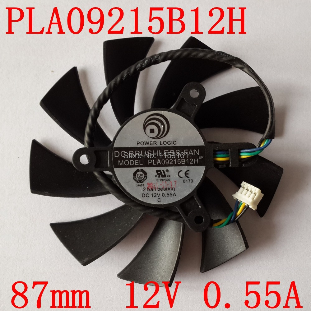 Free Shipping PLA09215B12H 12V 0.55A 87mm For MSI N560 570 580GTX HD6870 Graphics Card Cooling Fan 4Wire 4Pin