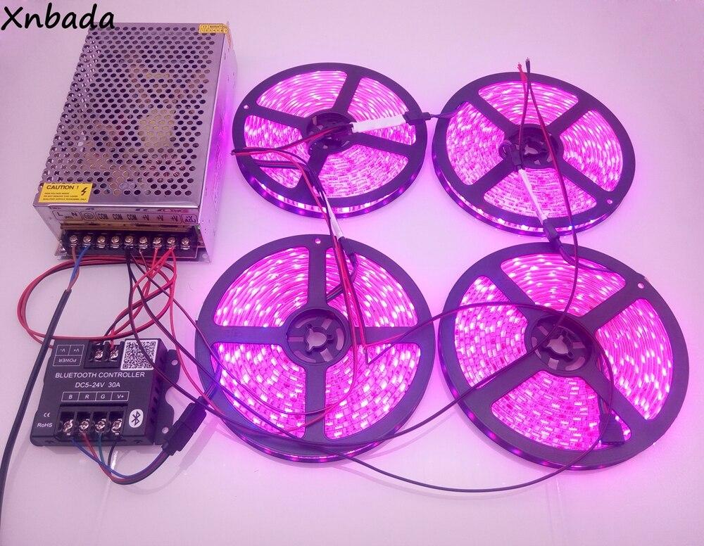 SMD5050 цветных (RGB) светодиодных лент светодиодный гибкий фонарь лента 60Led/м DC12V + blutooth контроллер управления светодиодными rgb лентами + 12 V 15A Led Мощность адаптер Комплект на расстоянии до 20 м - 3