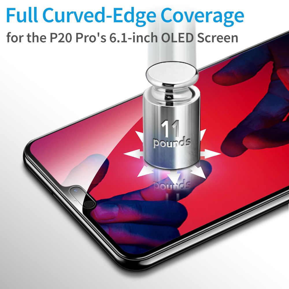 Esr protetor de tela para huawei p20 pro vidro temperado 3x mais forte 9 h 3d curvado capa completa anti azul-ray protetor de vidro flim