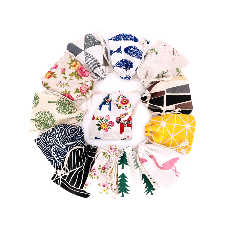 5pcs/lot Small Cotton Bags 8x10 9x12cm Linen Drawstring Pouch Muslin Gift Bag Sachet Charms Jewelry Packaging Bags Pouches
