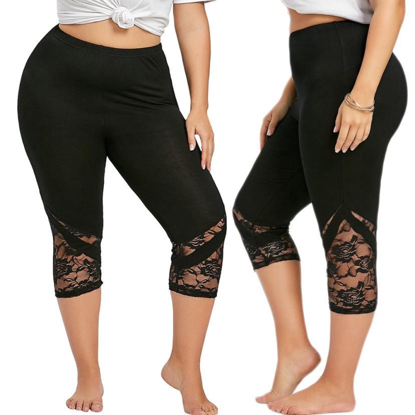 Women Lace Patchwork Skinny   Leggings   Polyester High Elastic Waist Mid- Calf Women's Summer Plus Size   Leggings   #50305