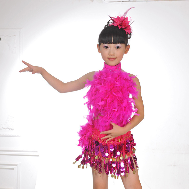 Plumas lentejuelas de baile latino vestidos para niñas niños Salsa ...