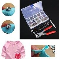 100 компл. Prong Кольцо заклепок кнопки фиксаторов высокое качество нажмите кнопку шпильки для одежды швейные инструменты
