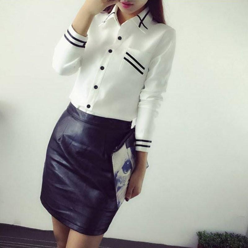 HTB1TXpVNXXXXXcfXXXXq6xXFXXXO - Fashion Ladies Office Shirt White Blue Tops Formal