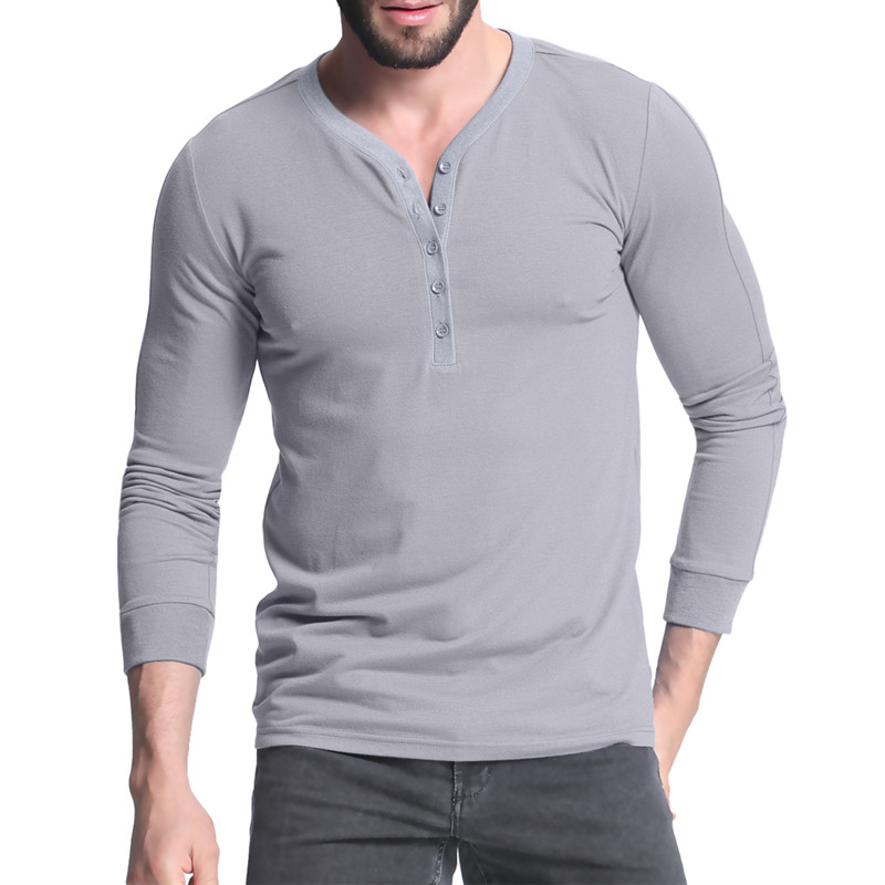 2017 fashion henley shirts slim fit plain t shirt long for Long sleeve fitted tee shirt