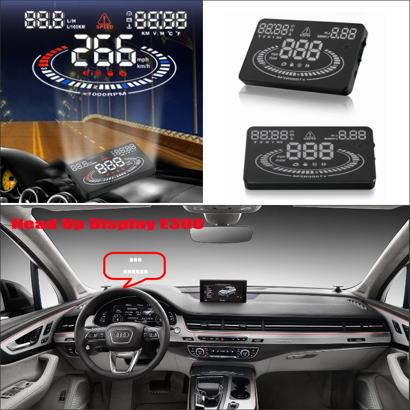 Car HUD Head Up Display For Audi Q7 4L Safe Driving Screen Projector Inforamtion Refkecting Windshield