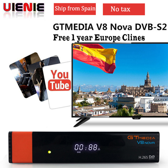 GTMEDIA V8 NOVA Satellite TV Receiver DVB S2 freesat V8 Super built in WIFI H 265