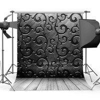 3D black damsk photo backdrop Vinyl cloth High quality Computer print party photography backgrounds