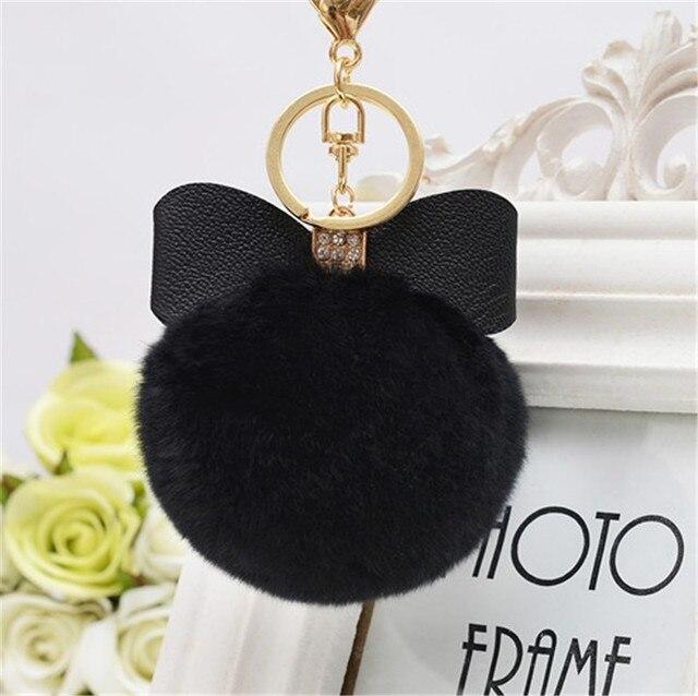 8 cm Fur Pom Pom Cung Keychain Keyring Phụ Nữ PomPom Móc Chìa Khóa Sang Trọng vòng Rhinestone Faux Rex Rabbit Fur Ball Key Chuỗi Cửa Hàng Bên quà tặng