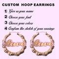 Настраиваемые Баскетбол Жены Стиль Хип-Хоп Большой Бамбук Название Буквы Серьги для Женщин