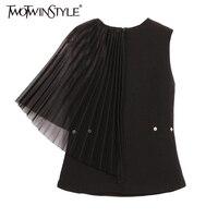 TWOTWINSTYLE 2017 여름 여성 단일 소매 T 셔츠 여성 간단한 블랙 탑 패치 워크 쉬폰 옷 한국어 새로운 패션