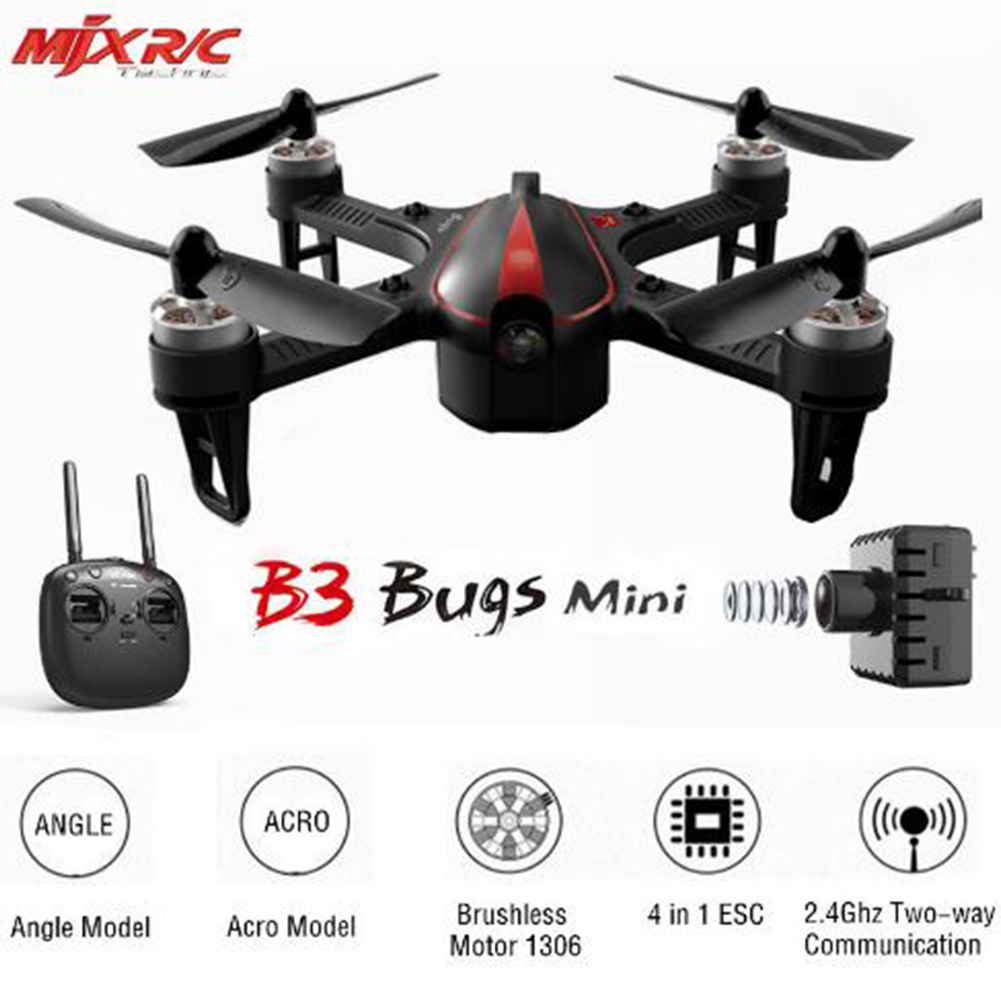 MJX B3 Bugs 3 Mini RC Drone Quadcopter Brushless With 1306 2750KV Motor 7.4V 850mAh 45C Battery VS Bugs 3 Drone Helicopter Toy 3pcs battery and charging cable for mjx bugs3 b3 little monster brushless helicopter 7 4v 1800mah 25c aircraft battery xt30