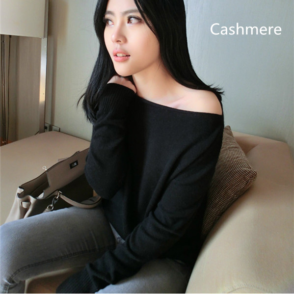 2016 new style strapless sweater 100% cashmere sweater was thin and sexy women's casual spring and autumn basic pullover ladies