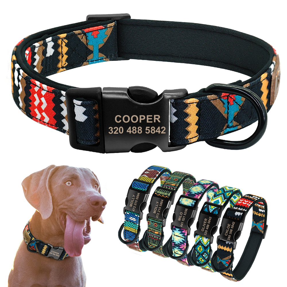 Personalized Dog Collar Custom Puppy Pet Collar Pitbull Collars Pets Acessorios Products Small Dog Collar For Medium Large Pet