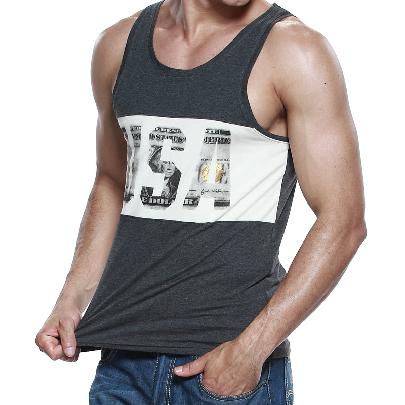 SEOBEAN Muscle Leisure USA Letter Print Men's Tank Top Sleeveless Vest Sexy Casual Active Top High Quality FX24